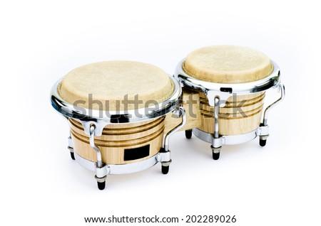 Latin percussion, Bongo isolate on white background - stock photo