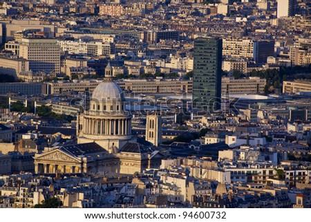 Latin Quarter with Pantheon in Paris seen from the top of Tour Montparnasse - stock photo