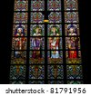 Latin Saints - Stained Glass Window in Den Bosch Cathedral, North Brabant, Netherlands - stock photo