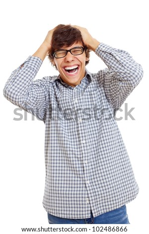 Latin student in black glasses laughing with hands over his head. Isolated on white background, mask included - stock photo