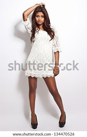 latina beauty wearing white dress - stock photo