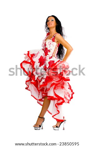 Latina dancer - beautiful woman with long black hair wearing stage vivid dress isolated on white