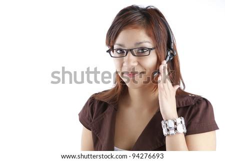Latino Customer Service Woman - stock photo