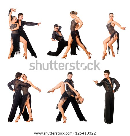 Latino dancers in action. Isolated on white - stock photo