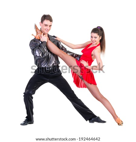 Latino dancers posing, isolated on white in full length  - stock photo