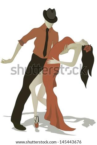Latino dancing Salsa Dance Couple - stock photo