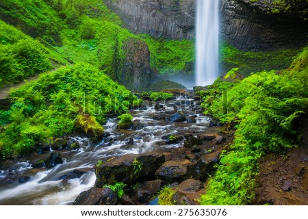 Latourell Falls, at Guy W. Talbot State Park, in the Columbia River Gorge, Oregon. - stock photo