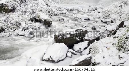 Latourell Falls Creek at Columbia River Gorge Oregon with Icicles and Flowing Stream Frozen in Winter Season Panorama - stock photo
