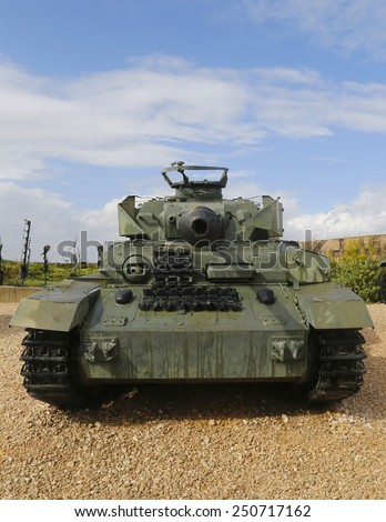 LATRUN, ISRAEL - NOVEMBER 27, 2014: German made Panzer PzKpfw IV medium battle tank captured by IDF on Golan Heights in 1967 on display at Yad La-Shiryon Armored Corps Museum at Latrun