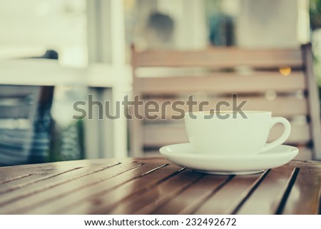 Latte art coffee cup in white mug - vintage effect style pictures - stock photo