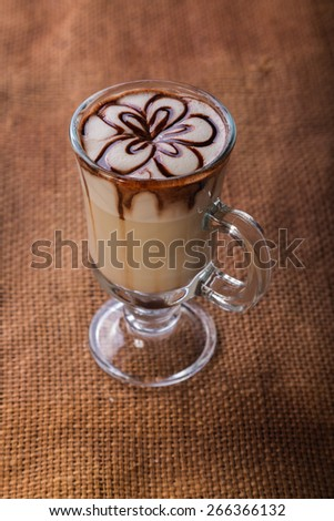 Latte art coffee cup of cappuccino. Cup of coffee latte - stock photo
