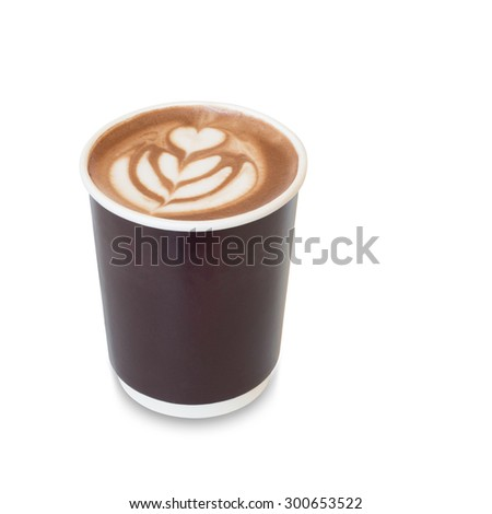 latte art coffee with heart figure and leave on, in take away paper glass isolated on white background with clipping path - stock photo