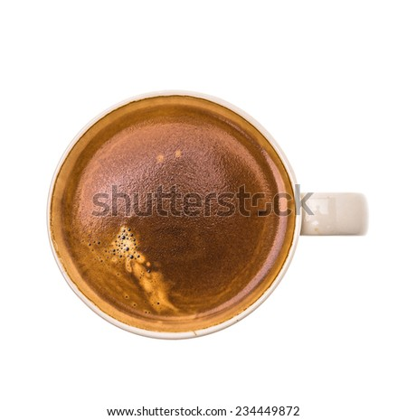 Latte coffee cup isolated on white background