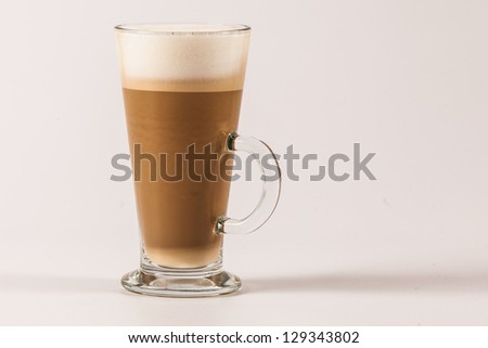 Latte coffee isolated on white - stock photo