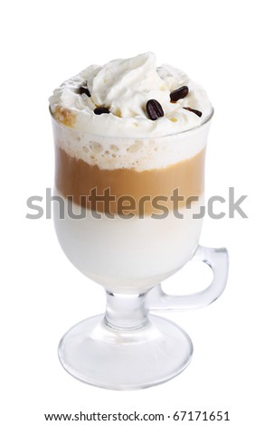 Latte macchiato with coffee beans on white isolated background - stock photo