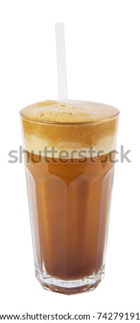 latte macchiato with straw isolated on white background - stock photo