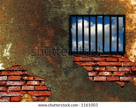 Latticed prison window, clear sky beyond - stock photo