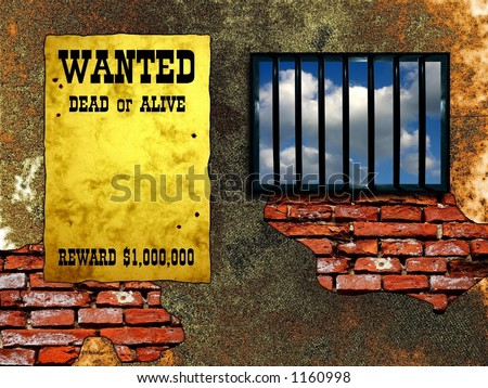 "Latticed prison window, clear sky beyond. Vintage ""Wanted"" poster on the wall - stock photo"
