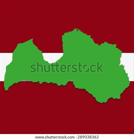 Latvia map image on the background of the national flag - stock photo