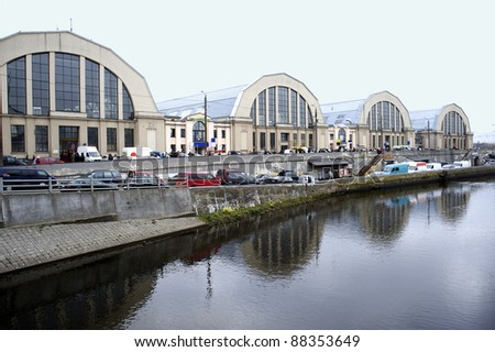 Latvia, Riga. A kind on pavilions of the central market. - stock photo