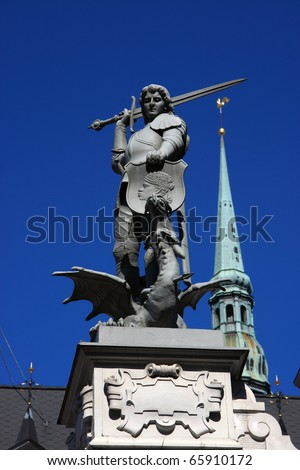 Latvia Riga City's historical center - Unesco world heritage site statue of George slaying the dragon