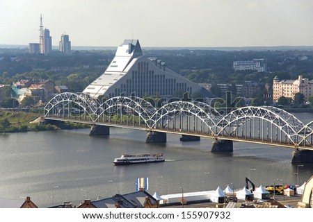 Latvia, Riga. The top view on national library and the railway bridge