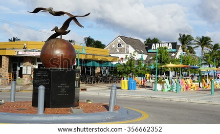 Lauderdale-By-The-Sea, FL - NOV 20: Lauderdale-by-the-Sea in Florida, as seen on Nov 20, 2015. The town is on a long narrow island separated from the mainland by the Intracoastal Waterway. - stock photo