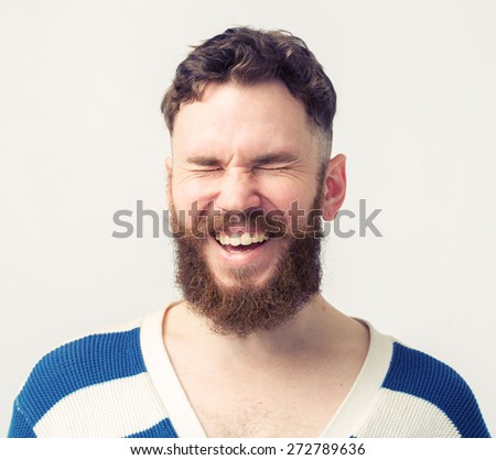 Laugh beard man portrait smiling happy  - stock photo