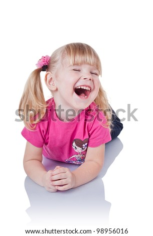 Laughing a little girl isolated on white background - stock photo