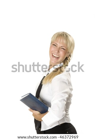 Laughing attractive young business-woman is holding a notebook - stock photo