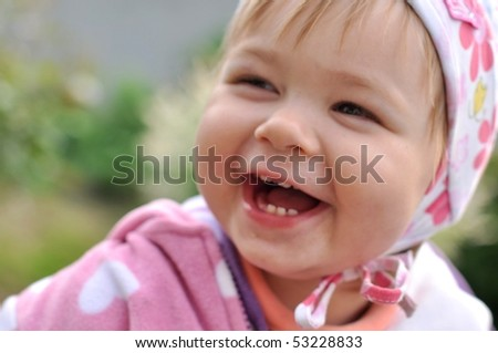 Laughing baby - stock photo