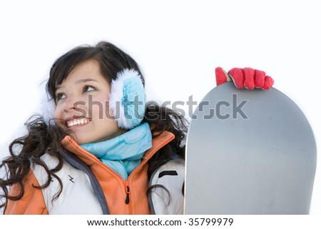 Laughing beautiful girl snowboarder - stock photo