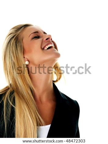 Laughing blond businesswoman with a black suit and white shirt