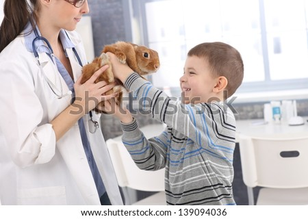 Laughing boy getting back cute pet rabbit from veterinary at pets' clinic. - stock photo
