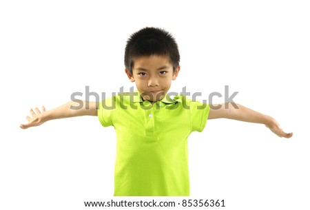 Laughing boy standing with hands open to embrace someone isolated