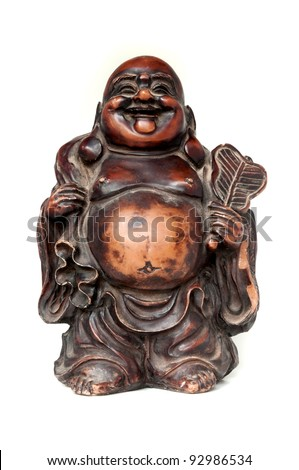 Laughing Buddha on a white background