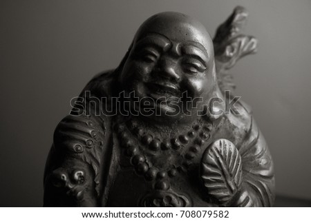 Laughing Buddha Statue Black & White 2