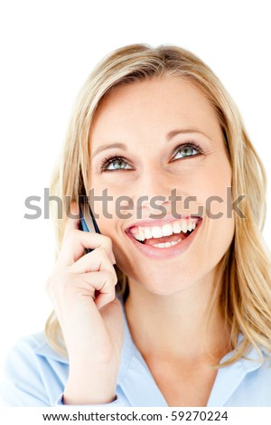 Laughing businesswoman talking on phone against white background