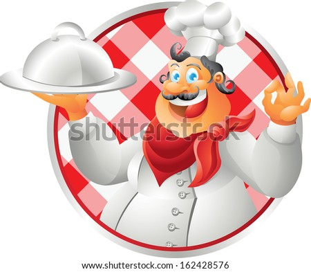 laughing bust chef table cloth - stock photo