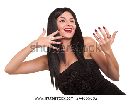 Laughing cheerful young woman on a white background.Emotional merry girl. - stock photo