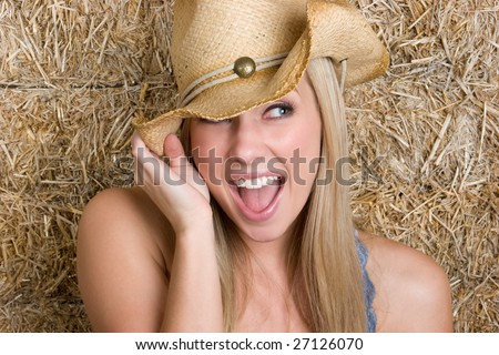 Laughing Cowgirl - stock photo