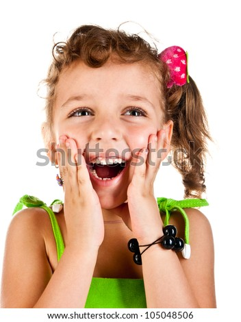 laughing girl on a white background - stock photo