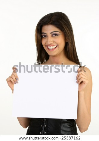 laughing girl with the white placard