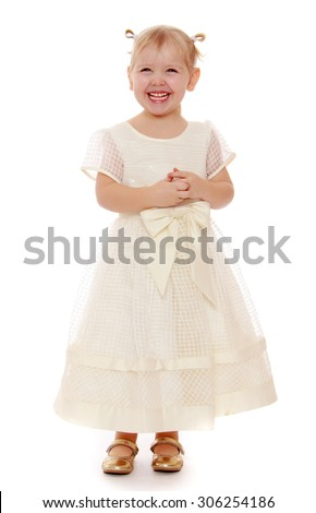 Laughing little blonde girl in a long white Princess dress.-Isolated on white background - stock photo