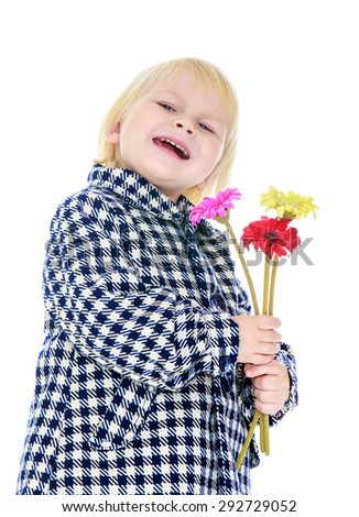 Laughing little blonde girl in a plaid demi-season coat, holding a bouquet of colorful fall flowers , close-up - isolated on white background