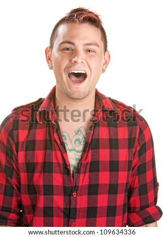 Laughing male in flannel shirt over white background - stock photo