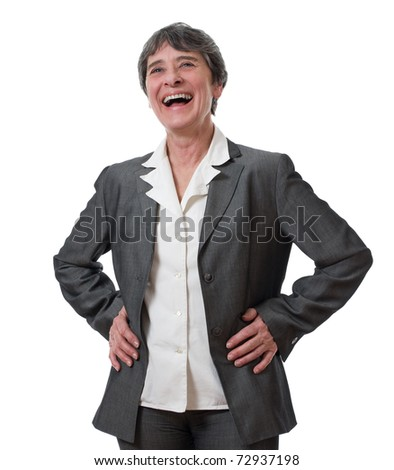 laughing mature businesswoman isolated on white background - stock photo