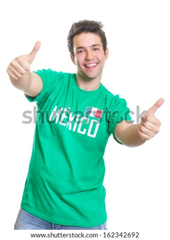 Laughing mexican sports fan showing both thumbs up - stock photo