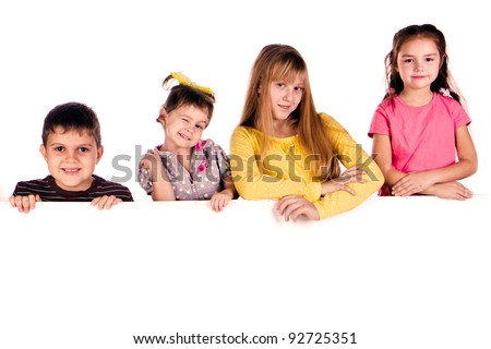 Laughing small kids on a white background - stock photo
