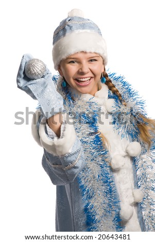 Laughing snow girl with christmas-tree decoration, isolated on white - stock photo